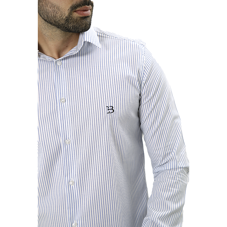 Camisa Manga Longa Listras Branco/Marinho