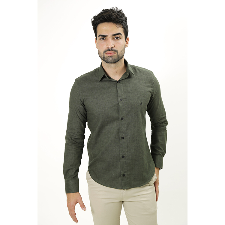 Camisa Manga Longa Chambray Oliva